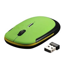 Ultra Slim Mini USB Wireless Optical Wheel Mouse Mice for All Laptop HP Dell(green)