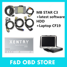 Top-Rated Mercedes Tester MB Star C3 full set with v2015.07 Software HDD installed well in CF19 4G Laptop for Benz free shipping