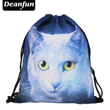 Deanfun 2017 women backpack printing bag for picnic mochila feminina harajuku drawstring bag mens backpacks ghost cat  S71