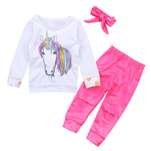 2017 Newborn Baby Unicorn Clothes Long Sleeve Tops +Rose Red Pant Legging Headband 3PCS Outfit Kids Clothing
