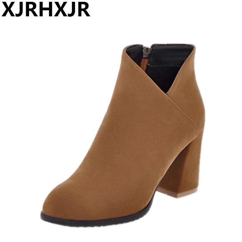 XJRHXJR Women Winter Boots High-heeled Boots Female Thick Heel Zip Martin Boots Fall Shoes Woman Pointed Toe Suede Ankle Boots<br>