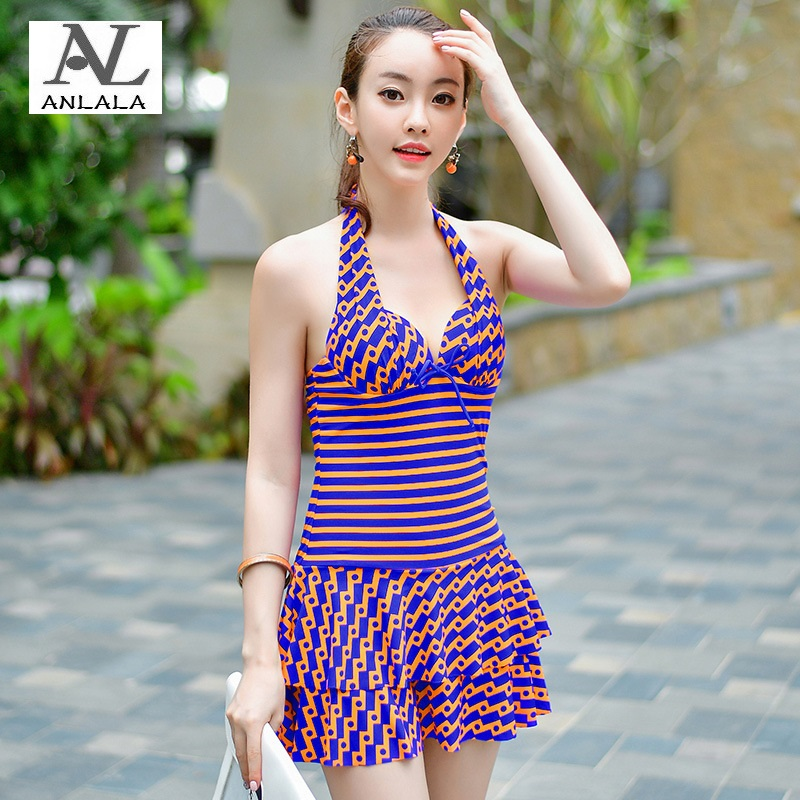 ANLALA Steel rope gather together Was thin Conservative Skirt style Flat angle one-piece swimsuit<br>