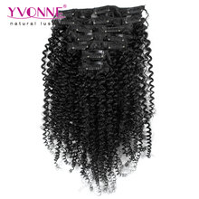Aliexpress Yvonne Brazilian Virgin Hair Clip In Human Hair Extensions,7Pcs/set Kinky Curly Clip In Hair Extensions,Color 1B