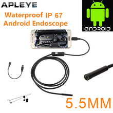 APLEYE 1M 5.5mm Lens OTG Android Endoscope Small Camera Tube Waterproof USB Endoskop Inspection Borescope Endoscope Camera(China)