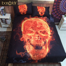 Bonenjoy 3D Skull Bedding Queen Fire Printed Polyester Cotton Bed Sheet Black Bedspread Sugar Skull Quilt Cover Bedding Set(China)