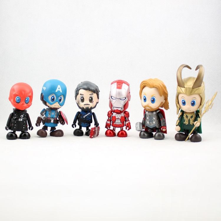 Avengers 6pcs/set 8cm Captain America Iron Man Loki Marvel Figures Decoration Collection Kids Gifts Toys 1263<br><br>Aliexpress