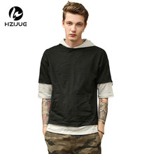 HZIJUE 2017 Original Design fashion street wear Fake two pieces street style male brand t shirts hip hop clothes(China)