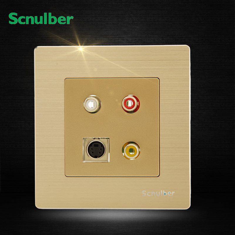 metal cover AV Video and audio RGB adapter ans S type terminal wall switch socket AV-S connector<br><br>Aliexpress