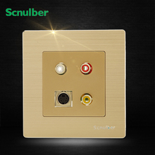 metal cover AV Video and audio RGB adapter ans S type terminal wall switch socket AV-S connector(China)