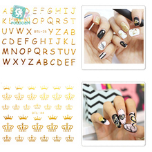 Rocooart DTL025-048 Water Transfer Nails Art Sticker 3D Gold Golden English Crown Nail Wrap Sticker Tips Manicura stickers