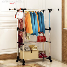 Free shipping Stainless steel storage rack bedroom dormitory room shelves hang clothes to dry with shoe storage rack pulley