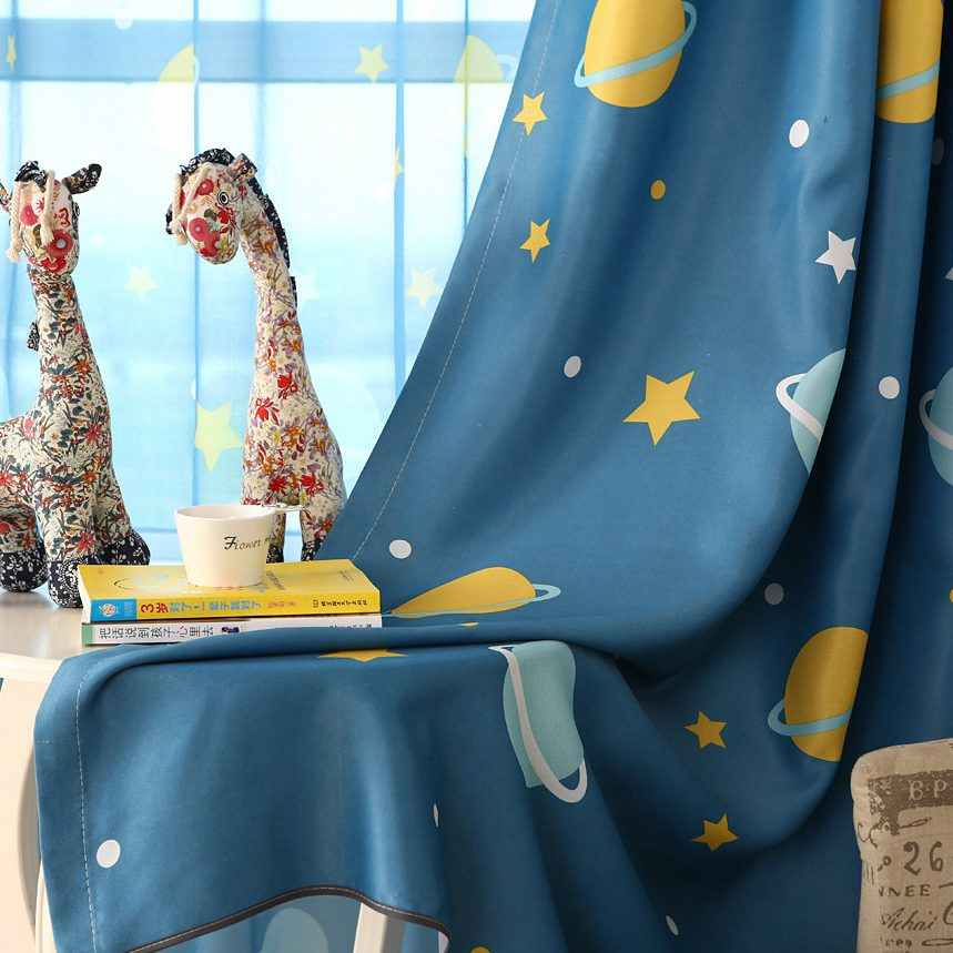 Blue Planet Print Curtains for Children Room Kids Boys Sons Nursery Kindergarten Modern Simple French Window Drapes wp355C