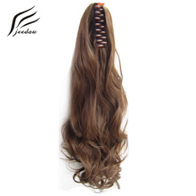 "jeedou Claw Ponytail Wavy Synthetic Hair 22"" 55cm 170g Blonde Chestnut Brown Color Natural Ponytails Hair Extensions Hairpieces(China)"