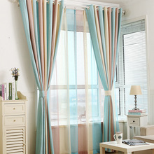 1PC Blue Striped Blinds Curtains for Bedroom Modern Children's Curtains for Living Room Drapes Window Curtain Custom Made