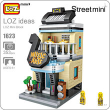 LOZ Brick Store Mini Blocks Buildings LOZ Music Art Piano Keyboard Musical Instrument Store Educational Toys for Children 1623(China)