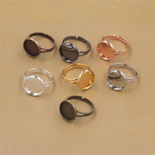 20pcs/lot 10mm/12mm Ring Settings Cabochon Base Bezel Tray Blank for Cabochon Cameo DIY Fashion Rings Adjustable Ring Base