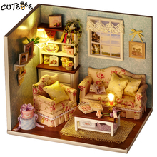 CUTEBEE Doll House Miniature DIY Dollhouse With Furnitures Wooden House Toys For Children Birthday Gift H07(China)