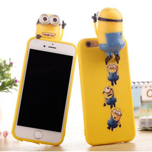 Newest 3D Cartoon animal lying cute Minion minnie/mickey mouse Stitch doll case For iphone 7 6 6s plus 5S/SE silicon back cover