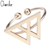 Chandler Silver Gold Double Triangle Rings Open Geometrical Fashion Love Jewelry Knuckle Midi Mid Pinkie Finger Bague For Women(China)