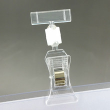 Clear H64mm POP Merchandise Plastic Sign Paper Card Display Price Label Promotion Small Clips Holders In Retail Shop 20pcs(China)