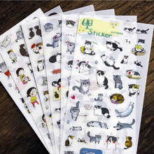 6 Pcs/Set Cute Cartoon Animals Cats PVC DIY Wall Stickers Diary Scrapbook Home Decor Furnitures Baby Kids Dily Lovely Decoration