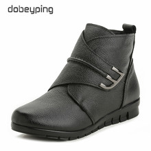 New Plush Women Boots Ankle Snow Boots Woman Keep Warm Winter Mother Shoes Soft Genuine Leather Flats Shoe Cotton Women Footwear(China)