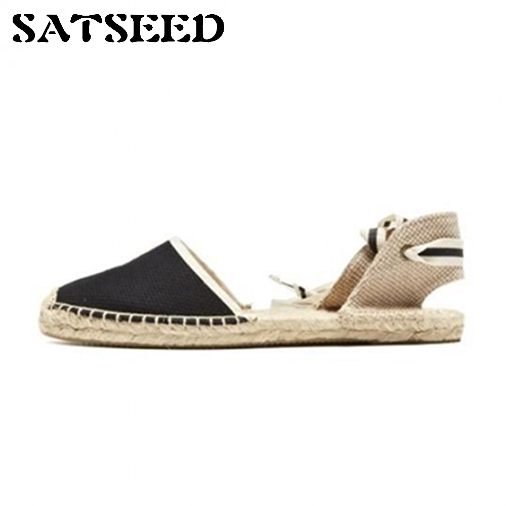 Spring And Summer Europe Canvas Cross Tie New Straw Soled Shoes Fisherman Flat Sandals High Stripe Band Rome Female Wind Flats<br>