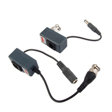 CES-2 x CCTV Camera UTP BNC Male to RJ45 5.5x2.1MM Power Video Balun Transceiver