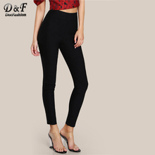 Dotfashion Elasticized Waist Skinny Pants 2017 Ladies Autumn Black High Waist Solid Trousers Woman Long Casual Pants(China)