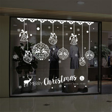 Christmas Wall Sticker Home Decor Store Window Decoration Hanging Jingle Bell Snowflake Reindeer papel de parede(China)