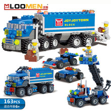 163 pcs DIY Kids Toys Racing Car Transporter Figures Transport Truck 8 in 1 Educational Small Pieces Building Blocks GH652
