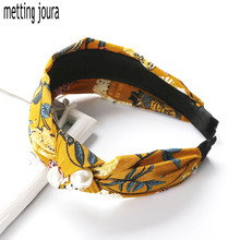 Metting Joura Bohemian Blue Yellow Flower Hairband Satin Fabric Wrapped Knotted Headband with Pearl Hairband Hair Accessories