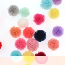 60pcs bulk 25mm tulle pom pom for diy Handmade Hair Accessories baby kids girls Cotton Candy Tulle TuTu sweet shoppe candy party