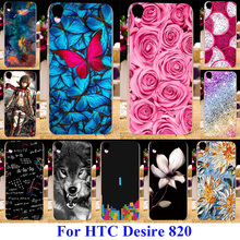 AKABEILA Soft Plastic Cases For HTC Desire 820 D820U D820 D820T Dual Sim 820G+ 820S D820Q Covers Back Rose Flower Butterfly Bag(China)