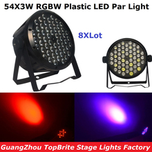 8Pcs/Lot Cheap Price 120W Led Par Lights 54X3W RGBW Led Flat Par Can Strobe Laser DMX DJ Disco Professional Stage Lights(China)