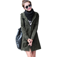 New Fashion Plus Size Women Coat 2017 Spring Autumn Casual Hooded Long Trench Coat Female Slim Solid Thin Outerwear C248