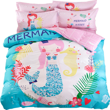 cartoon mermaid princess print blue linens bedding 100% cotton Twin/Queen Size duvet cover+bedsheet+pillowcases sheets(China)