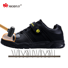 Modyf Men's hot sale safety shoes steel toe cap and puncture proof sole skatebord shoes Hook&Loop fashion look footwear