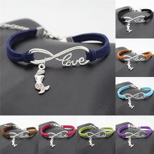 Chic Women Beautiful Handmade Infinity LOVE Jewelry Best Friend Gift Elegant Silver Little Mermaid Charms Brwon Leather Bracelet