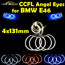 flytop 4 x 131mm CCFL Halo Rings Kit Angel Eyes Blue Red White Color Headlight Decoration for BMW E46 E39 E38 E36(China)