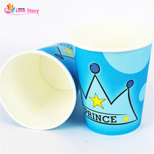 6pcs/pack Paper Cups For Boy/Girl Princess Prince Crown Drinking Cups Birthday Kids Celebration Party Decoration Party Supplies(China)