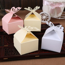 Wedding Decoration 50Pcs Folding DIY Butterfly wedding candy box for Ideas regalos de boda wedding favors and gifts Boxes(China)