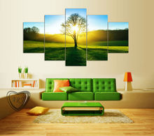 5 Pieces Wall Art Pictures Morning Sunshine Home Decoration Canvas Print Green Tree Grassland Scenery Paintings Modern Pictures