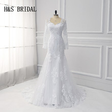 H&S BRIDAL Mermaid Wedding Dresses with long sleeve elegant white bridal gown vestidos de noiva robe de mariee brand new(China)