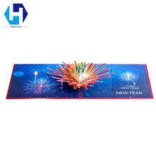 Happy New Year fireworks 3D pop up greeting cards laser cutting envelope postcard hollow carved handmade kirigami gifts(China)