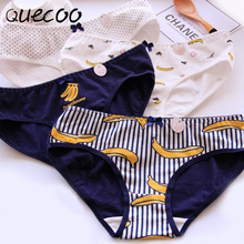 QUECOO 2017 new banana printing cute sexy underwear cotton comfortable women's underwear pants free shipping #168