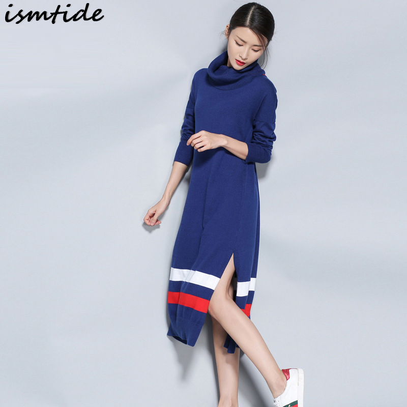 Ismtide Women Wool Dress 2017 Autunm Winter Knitted Sweater Dress Turtleneck Long Patchwork Striped Loose Warm Pullover Dress PlÎäåæäà è àêñåññóàðû<br><br>