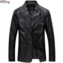 2017 slim male blazer men Man suit Men's leather jacket and coat faux PU leather suit jacket male fur coat motorcycle jackets(China)