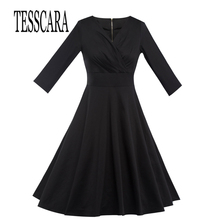 TESSCARA Brand Spring Autumn New Fashion Women Dress Clothing Black V-Neck Lady Robe Clothes Office Party Travel Female Dresses