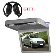 1080p hd 13.3inch car roof dvd player with game usb sd fm ir HDMI speakers+  free headphone